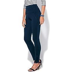 Tregging Cintura elástica con Piezas pespunteadas Mujer by Vencastyle - 022707,Azul Marino,XL