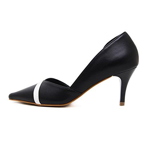 Voguezone009 Femmes Pull Toe Shoes Talon Moyen Faux Suede Couleur Assortie Ballerines Noir