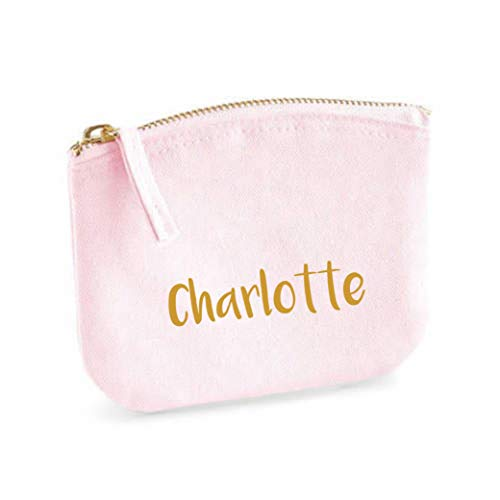 Schminktasche für Mädchen | personalisiert mit Namensdruck | kleine Kosmetiktasche für Kinder inkl. Name | Make-up Täschchen mit Reißverschluss | Abmessungen: 14,5cm x 11cm (rosa) (Kleine Mädchen Kosmetiktasche)