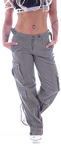 Damen Cargohose Stoffhose Cargo Hose Hüfthose Jeans XS 34 S 36 M 38 L 40 XL 42 Khaki Grau Low rise gr größe size low waist seiten tasche taschen stoffhosen ziertasche gree locker lässig sportlich