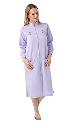 Ladies Lightweight Quilted Zip Gowns With Embroidery by Marlon MA10256 Lilac 10-12