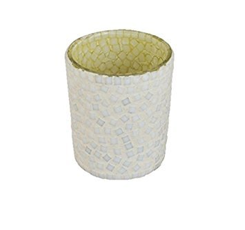 THE YELLOW DOOR White Glass Mosaic T-light Candle Holder for Home Décor & wedding Decorative showpieces