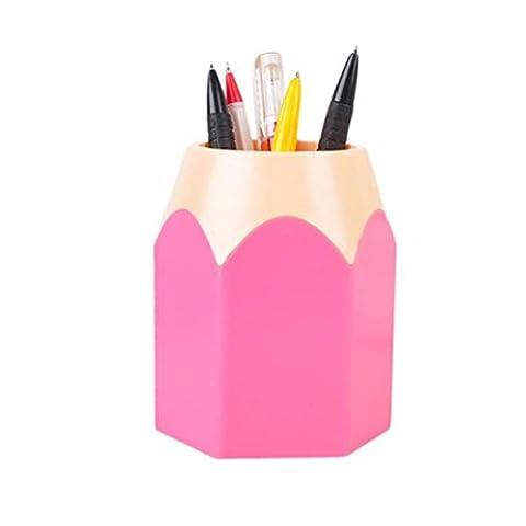 Pot à Crayons Boîte Stylos Echelles Rangement Bureau Maquillage Brosse Creative Manique Papeterie Rangements (Rose)