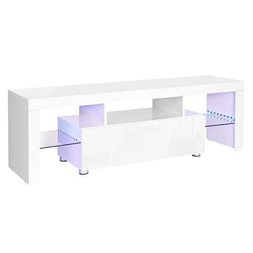 VASAGLE Meuble TV, Support télé, pour TV jusqu'à 60 Pouces, Grand, avec Bandes Lumineuses LED, Meuble de Salon, 140 x 35 x 45 cm, Moderne, Blanc Brillant LTV14WT