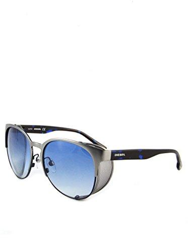 DIESEL Damen Sonnenbrille mit seitlichem Lichtschutz Mattsilber-Blau mit blauen Gläsern DL0060/S 92W