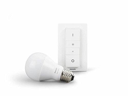 Philips Hue Illuminazione wireless personale, Dimming Kit con Lampadina E27 e switch incluso, Bianco