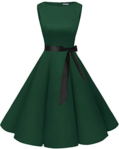 bbonlinedress 50s Retro Schwingen Vintage Rockabilly Kleid Cocktail Faltenrock Dark Green XL