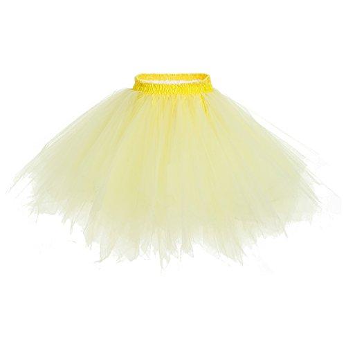 bridesmay Tutu Damenrock Tüllrock 50er Kurz Ballet Tanzkleid Unterkleid Cosplay Crinoline Petticoat für Rockabilly Kleid Yellow ()