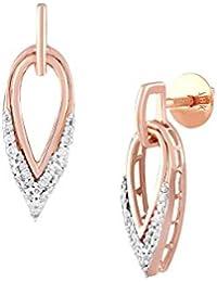 TBZ - The Original 18KT Rose Gold and Diamond Drop Earrings for Women