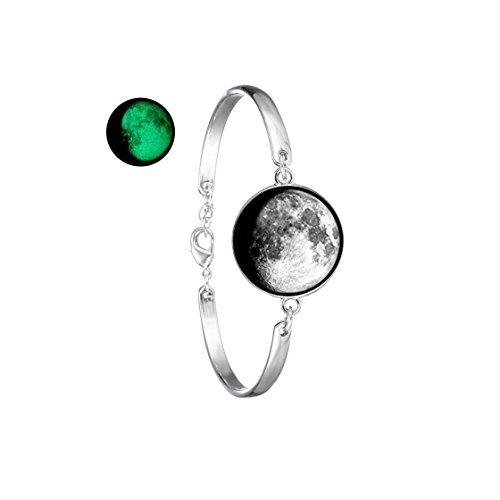 Pulsera con cuenta de luna llena con gema de cristal que brilla en la oscuridad