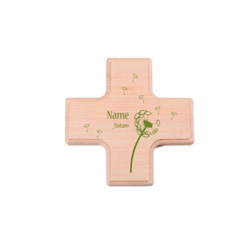 Striefchen® kleines Holzkreuz zur Taufe / Kommunion / Konfirmation mit Druck des Name, Datum u. Wunschtext