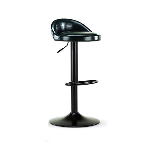 ZUOANCHEN Barhocker Europäischer Stil Moderner PU-Leder Verstellbarer Esszimmerstuhl Hoher Hocker, 2er-Set, Counter Height Swivel Hocker (Schwarz) (Farbe : Green, größe : One) - Schwarz Leder Swivel Counter Hocker