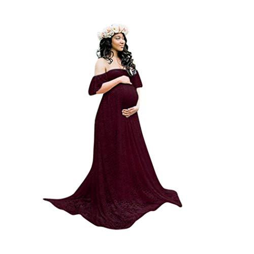 HaiDean Femmes Robes D Allaitement Allaitement Grossesse D Robes Chic Jeune Robe Épaules Dénudées Robe Épaules Nues en Dentelle pour Femmes Enceintes (Color : Rot, Size : XL)