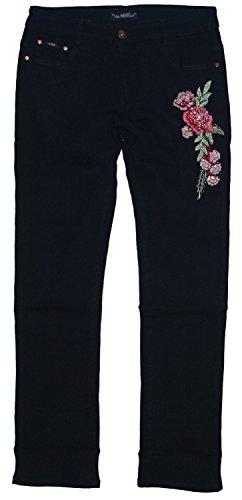 ADB Damen Stretch Jeans Hose mit Stickerei gerades Bein G35x, DUNKEL-BLAU (G356), Gr.44 W34 (Gestreift Gerades Jeans Bein)