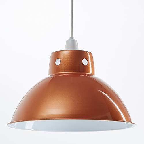 Funky Cafe Style Pendentif au plafond rétro en métal abat-jour en métal, Look Vintage industriel moderne, 300mm de diamètre - Orange Métallique