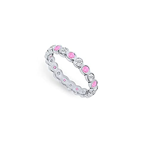 Pink Sapphire and Diamond Eternity Band Platinum 1.00 CT TGW