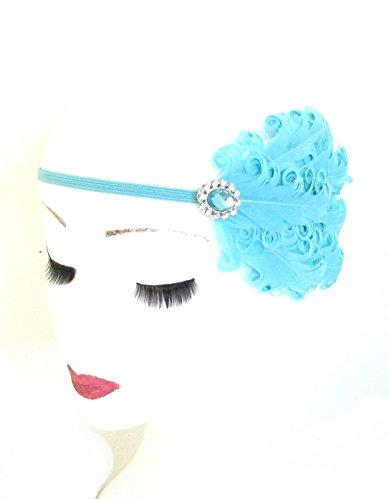 Aqua Bleu Turquoise Argent Plume Bandeau Flapper M23 * * * * * * * * style vintage années 1920 exclusivement vendu par – Beauté * * * * * * * *