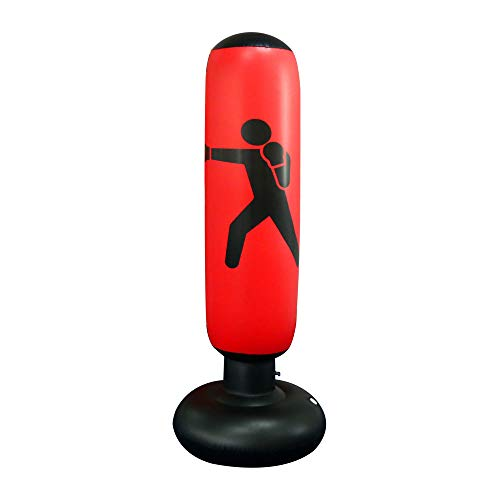 JanTeel Boxsack 160cm, Standboxsack Aufblasbare Boxsäule Tumbler Kinder/Erwachsene Fitness Dekompression Sandsäcke Kick Kampftraining, Freistehender Boxsack Trainer Punching Ball Sandsack (Rot-C)