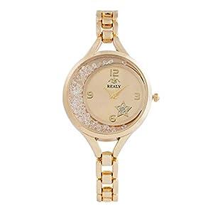 Giologre Damen Leder Uhr Analog Quarz Uhren mit Gold Rosegold Silber Lederband, Lady Fashion Kleid Armbanduhr mit Bling Kristall für Frauen Teenages Mädchen Geburtstag