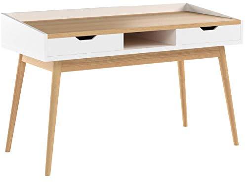 Relaxdays Schreibtisch, skandinavisches Design, 2 Schubladen, Bürotisch HxBxT: ca. 76 x 120 x 55 cm, Holz, weiß-braun