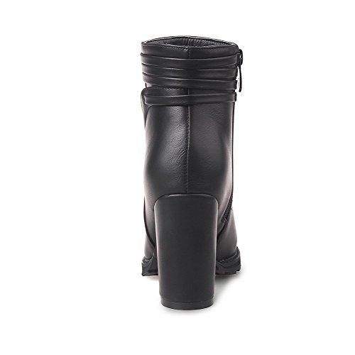 VogueZone009 Damen Niedrig-Spitze Reißverschluss Weiches Material Hoher Absatz Stiefel Schwarz