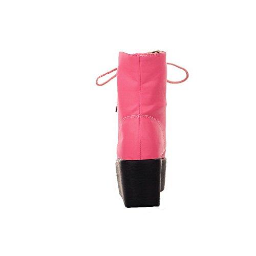 AllhqFashion Damen Rein Hoher Absatz Rund Zehe Schnüren Stiefel Pink