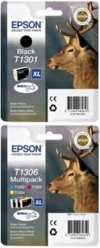 Preisvergleich Produktbild Epson T1301 schwarz + T1306 3-er Set von cyan/magenta/gelb, Original Tintenpatrone