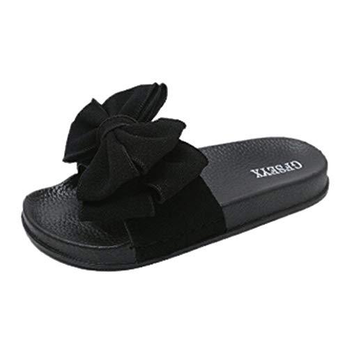 Sandali donna,hoopert donna estive pantofole elegant ciabatte da casa scarpe da spiaggia sandali bassi elegant - donna bow estate sandali pantofola coperta spiaggia scarpe (37 eu, nero)