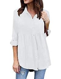 Camisas Mujer Talla Grande Manga Larga De Solapa Un Solo Pecho Primavera Otoño Joven Blusas Camisas