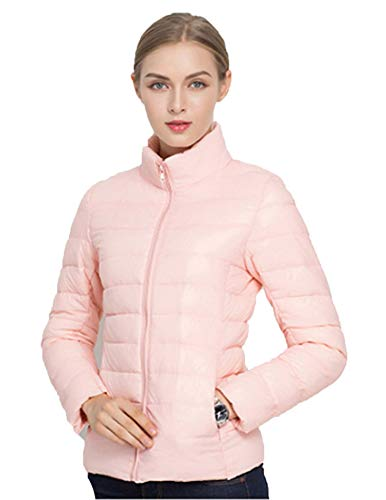 Sytiz New Winter Down Coat Women Warm Chic Parkas Solid Stand 90% White Duck Long Sleeve Jackets Light Slim Autumn Baby Pink M