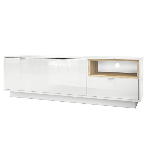 TV Board Lowboard Metro, Korpus in Weiß Hochglanz / Fronten in Weiß Hochglanz mit Einsatz in Eiche Natur