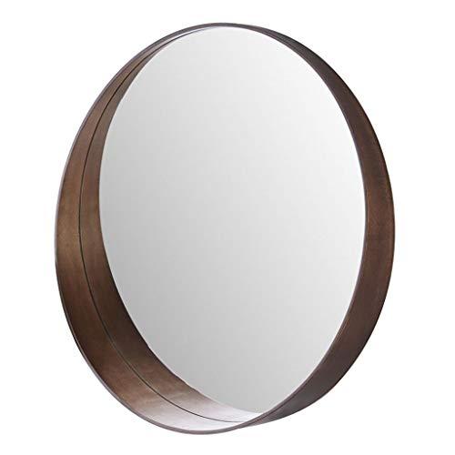 NBE Espejo- Unión de Madera Maciza casa Redonda Espejo del baño Retro Lavado para Colgar en la Pared un Espejo de Maquillaje Vestir Belleza decoración Espejo Espejo (Color : Color Nogal)