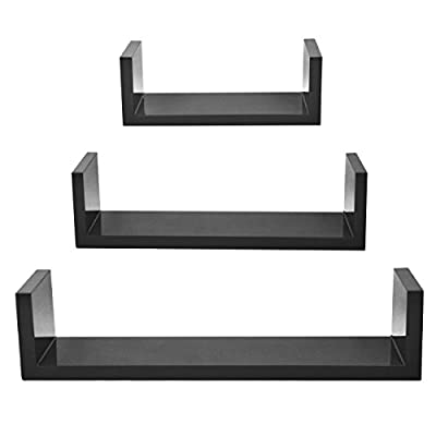 Corneria Wall Mount U Shaped Wooded 3 Nesting U Floating Shelf Shelves Racks - cheap UK light store.