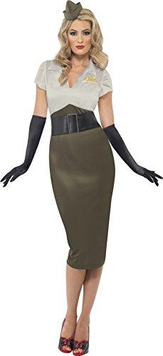 Smiffys, Damen WW2 Armee Pin Up Schätzchen Kostüm, Kleid und Mütze, Größe: S, 38816