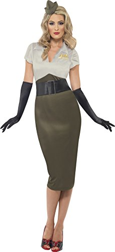 Smiffys Damen WW2 Armee Pin Up Schätzchen Kostüm, Kleid und Mütze, Größe: S, - Girl Up Ideen Pin Halloween-kostüm