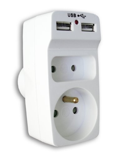 Enexo - Biplite 6A + 16A avec 2 chargeurs USB -Blanc