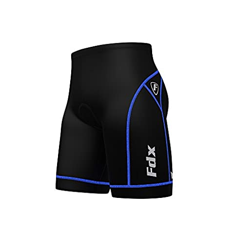 FDX Mens Quality Cycling Shorts Coolmax® Padding Outdoor Cycle Gear Tight Shorts (Black/Blue,