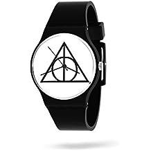 Panapop   Deathly Hallows   Reloj Pulsera Mujer   Correa Negra Silicona  Harry Potter   Licencia Oficial