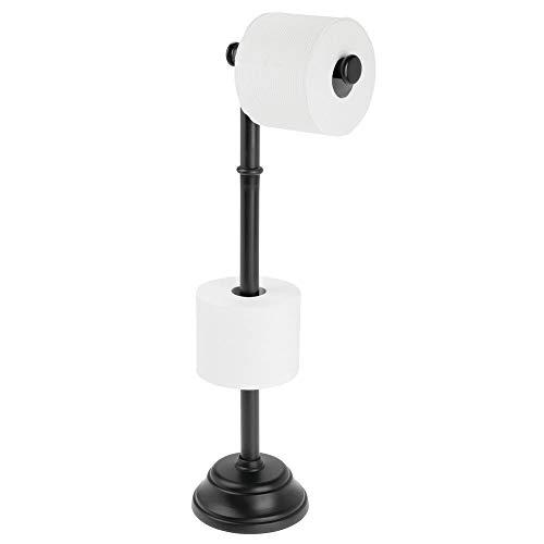 mDesign porte papier toilette en plastique pour 3 rouleaux – dérouleur papier WC autoportant pour la salle de bain – distributeur papier toilette sans perçage pour de nombreux rouleaux – noir