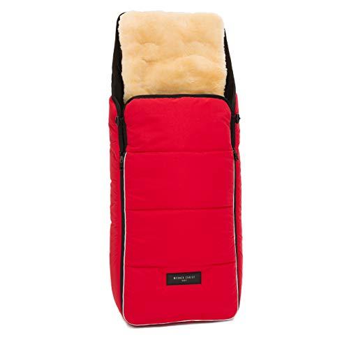Lammfell Kinderwagen-Fußsack CORTINA von WERNER CHRIST BABY - Thermo Winterfußsack mit herausnehmbarem, echtem Fell, als Einlage für Buggy verwendbar (2-in-1) in chili red (rot)