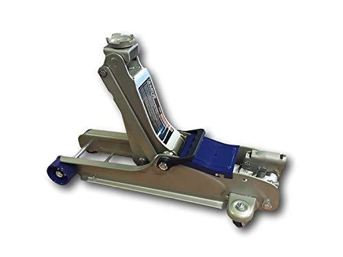 Elevador Perfil bajo 2.5 Tonelada Jack - Capacidad de elevación: 2.5 toneladas (5000LB), rango de elevación: 85-365mm (3.3-14.4 in), Tamaño: 565mm * 219mm * 145mm, Dimensiones de la silla de montar: 56mm (2.2 in), Peso: 15 kg