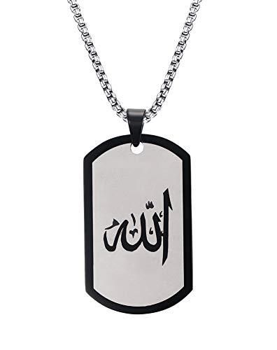 Joielavie Bijouterie Anhänger Halskette Militär Armee Dog Tag Allah Vorname Schild Edelstahl Kette Schmuck Geschenk für Damen Herren Farbe Schwarz