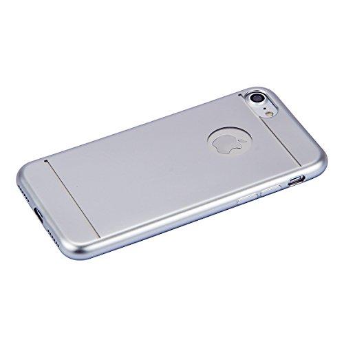 iPhone 7 Plus Tpu Hülle,iPhone 7 Plus 2016 Hülle,JAWSEU Luxus Coating Gold Ultradünne Silikon Gel Schutzhülle,Weiche TPU Zurück Slim TPU Silikon Abdeckung Hülle Case Tasche Etui für iPhone 7 Plus 5.5  Silber