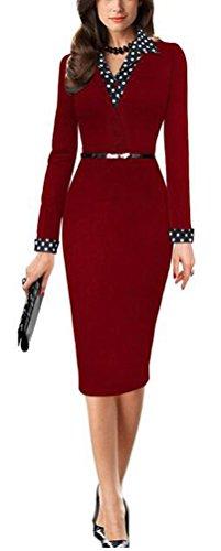 SunIfSnow Damen Schlauch Kleid, Gepunktet Gr. S, rot (Sleeve Petite Dolman)