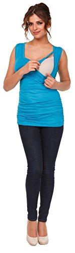 Happy Mama Femme. Top de maternité. T-shirt d'allaitement effet cache-coeur. 371p Cyan