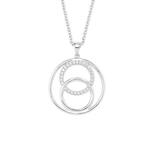 s.Oliver Damen Kette mit Kreis-Anhänger Sterling Silber 925 Zirkonia (synth.) rhodiniert längenverstellbar 42+3cm