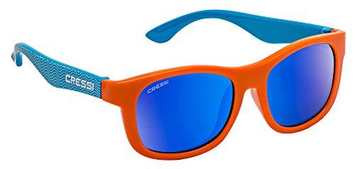 Cressi Unisex- Babys Teddy Sunglasses Polarisiert Kinder Sonnenbrille, Hellblau Wellen/Orange/Spiegelglas Blau, 0/2 Jahre