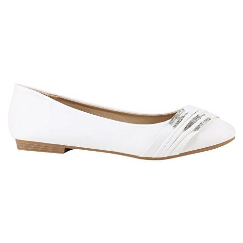Stiefelparadies Klassische Damen Schuhe Ballerinas Brautschuhe Hochzeitsschuhe Modische Strass Flats Übergrößen Hochzeit 142115 Weiss Strass Strass 39 Flandell