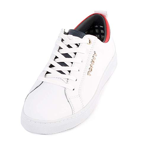 cb2d8b6c4 Tommy Hilfiger Women s Tommy City Leather Lace Up Sneaker White-White-7  Size 7