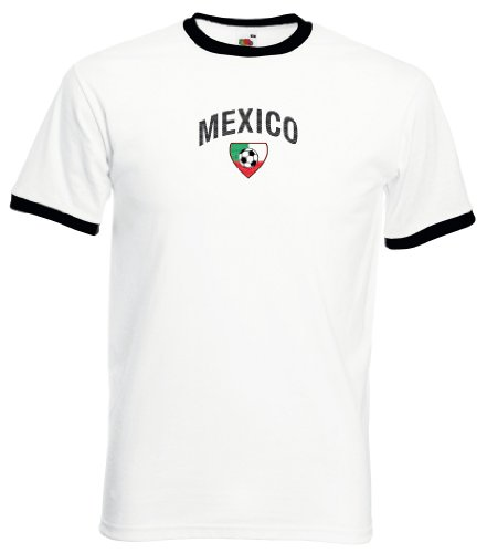 world-of-shirt Mexico Herren T-Shirt Team Flag Retro Trikot|weiß L - El Tri Mexico De